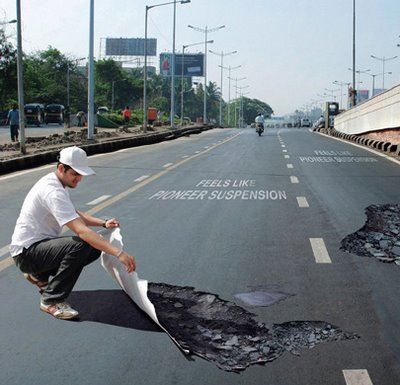 Pothole Sticker Illusion