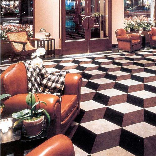 Three dimensional floor tiles illusion for Floor illusions