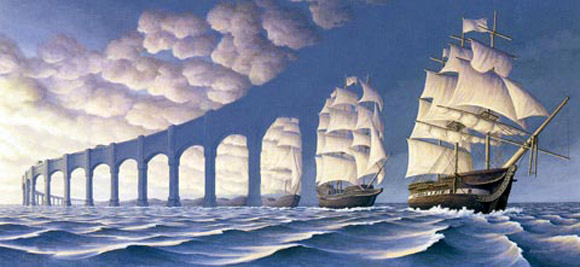 Ships and Arches Optical Illusion
