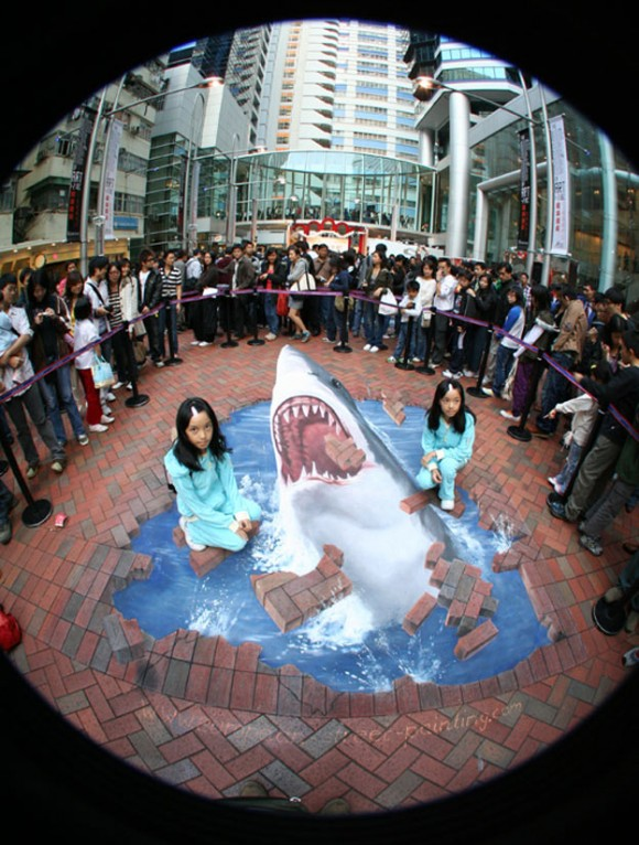3D Shark Illusion (Street Art)