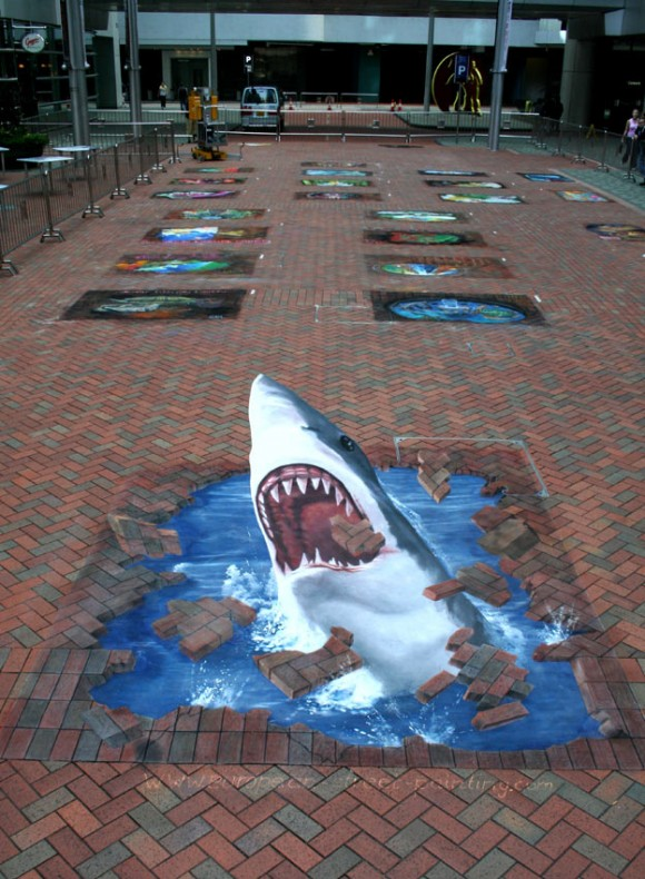3d shark illusion street art for 3d street painting mural art