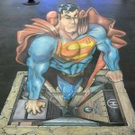 Superman 3D Chalk Drawing Optical Illusion