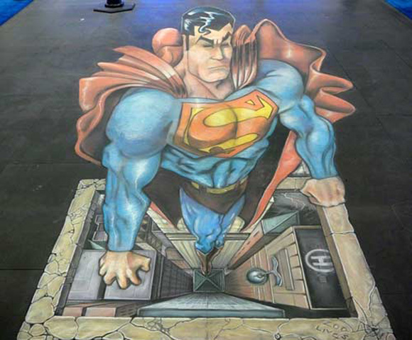 Have no fear, Mr. 3D Chalk Drawing Superman is here!