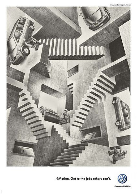 "Advertisement for Volkswagen 4Motion, based on Escher's artwork ""Relativity"""