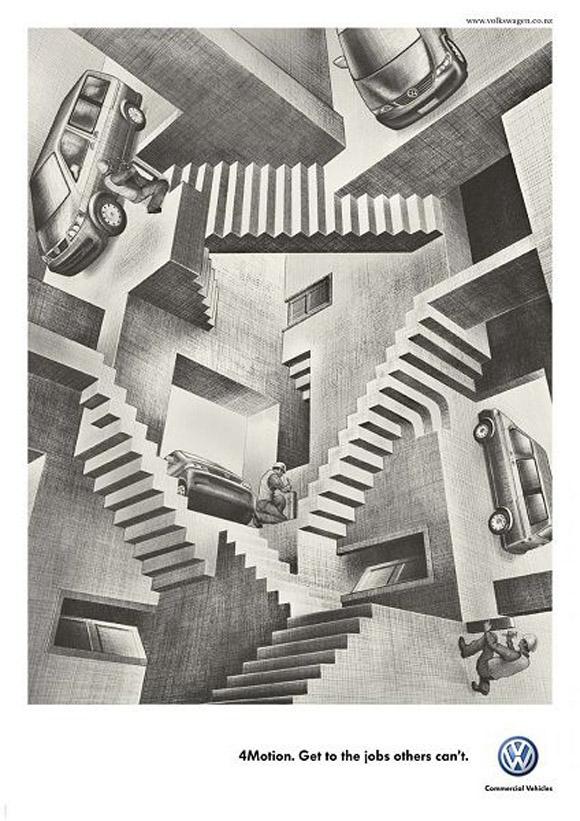 "Advertisement for Volkswagen 4Motion, based on Escher's artwork ""Relativity"""