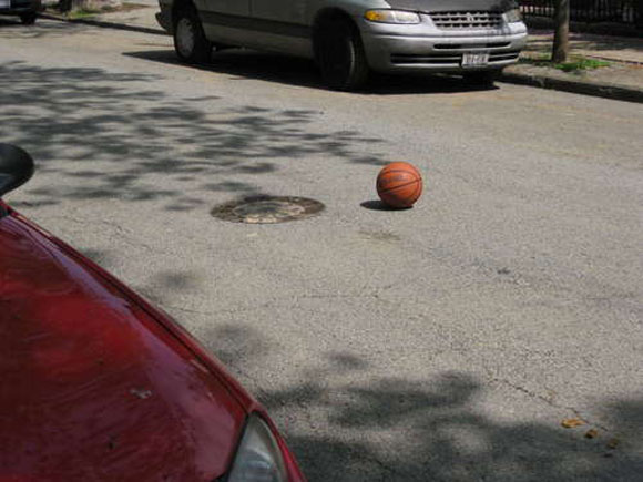 Apparently this Spalding basketball ball is just painted on the street, though...