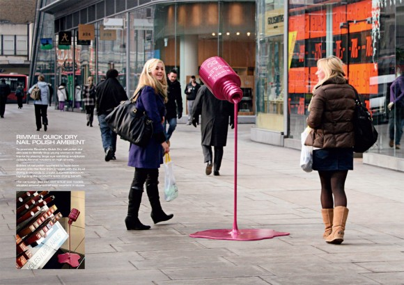 An interesting ad for Rimmel quick dry nail polish, placed in public location
