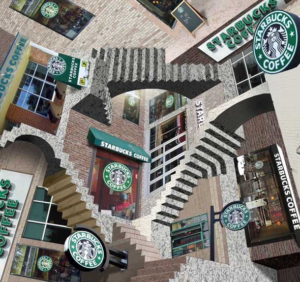 Starbucks Relativity Optical Illusion