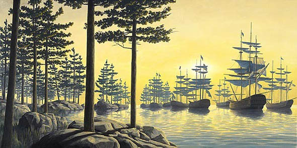 Rob Gonsalves - Sailing is Land Optical Illusion