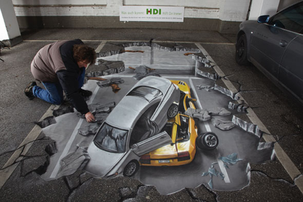 3D Cars Pavement Art