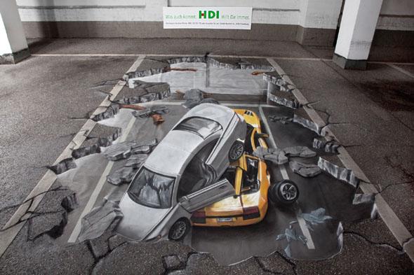 3D Cars Pavement Art