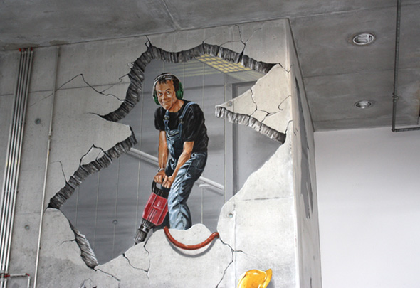 Atrium construction worker mural for 3d mural painting