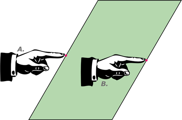 Pointing Fingers Optical Illusion