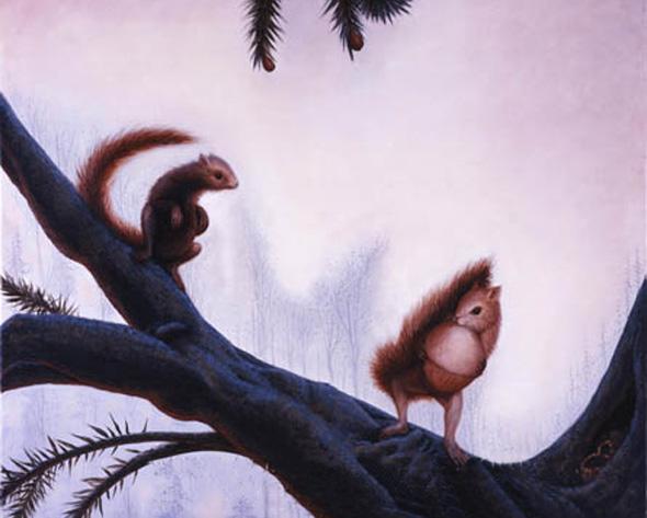 Squirrels in Action Optical Illusion