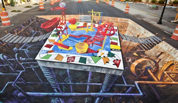 Mouse Trap 3D Chalk Drawing