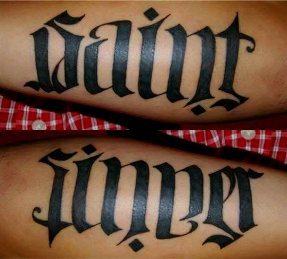 saint sinner ambigram