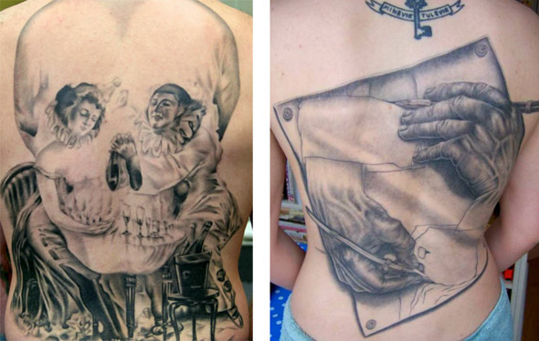 skull tattoo and escher's hands
