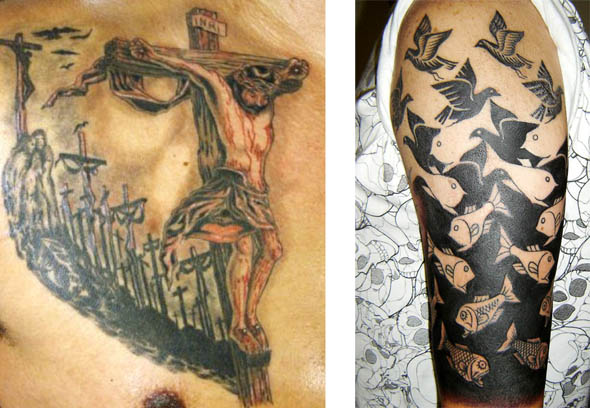 jesus tatto optical illusion