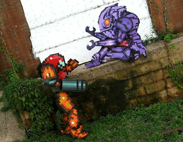 Pixelated Characters Entering Reality