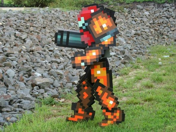 samus costume on rocks