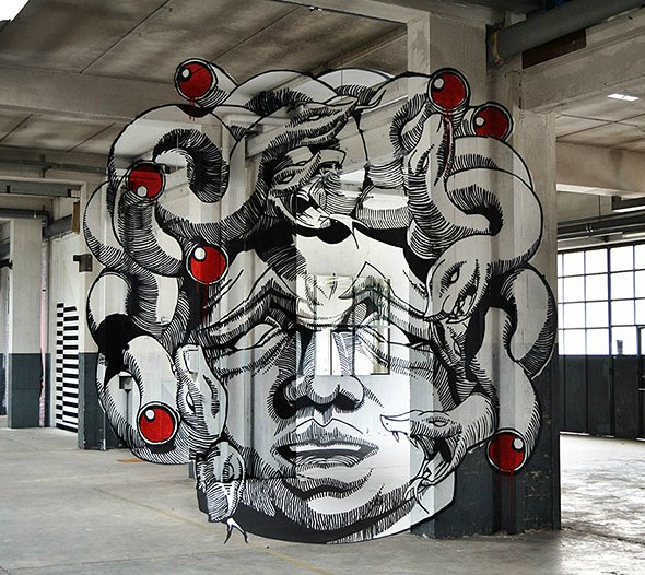 An Anamorphic Medusa Painting
