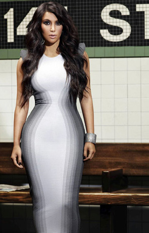 "Kim Kardashian wearing Alexander McQueen's ""Optical Illusion dress"""