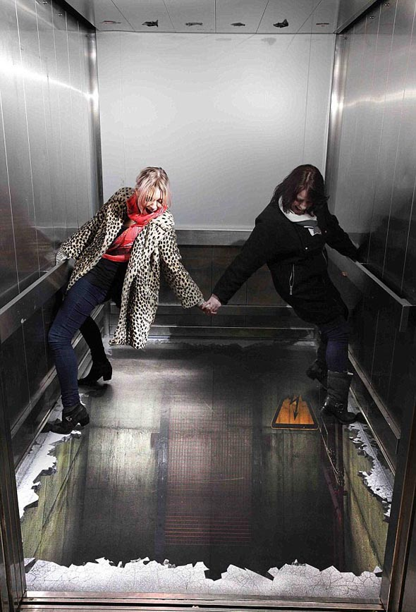 Elevator Optical Illusion in London