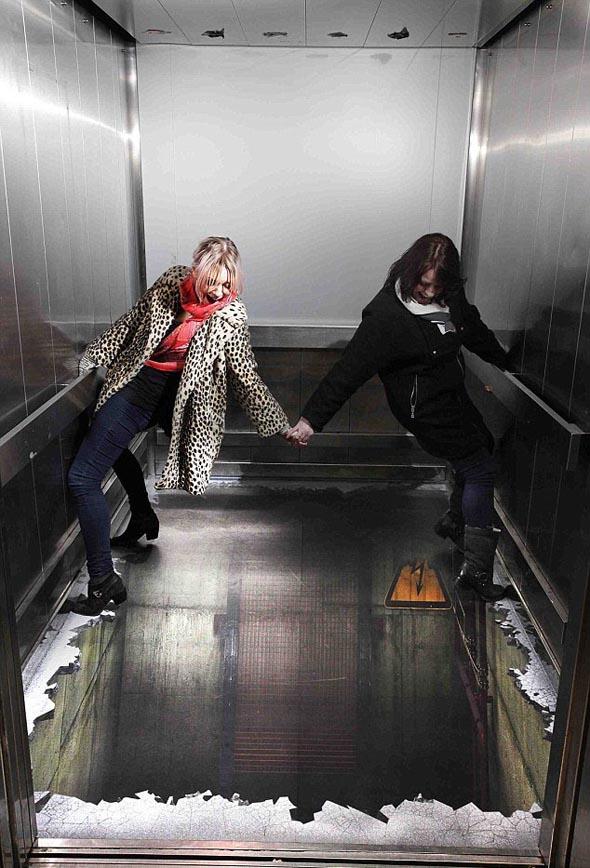 Elevator Optical Illusion in London