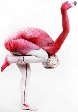 Flamingo Body Paint Illusion