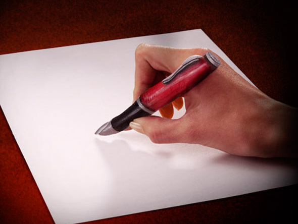 Finger Pen Optical Illusion