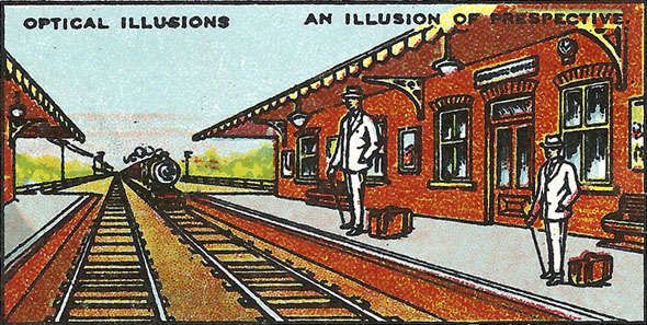 Perspective train station optical illusion