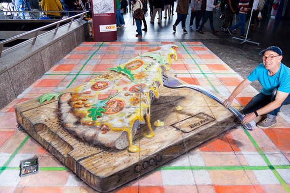 Zurich Pizza Pavement Drawing