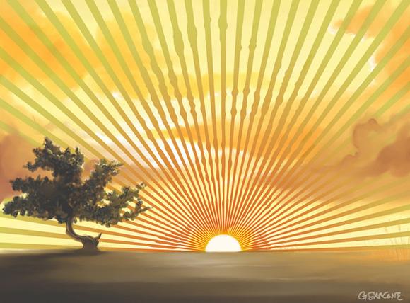 Sunset Marilyn Optical Illusion