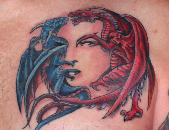 Dragons Tattoo Optical Illusion