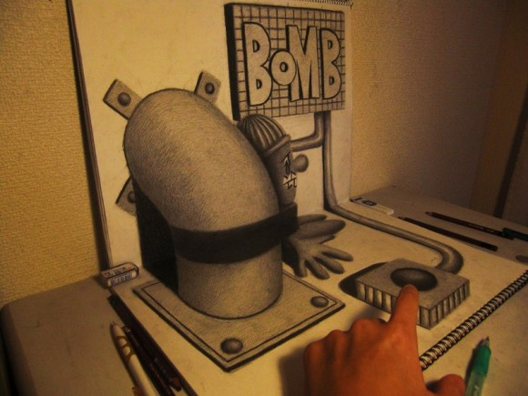 3D Bomb Art installation Optical Illusion
