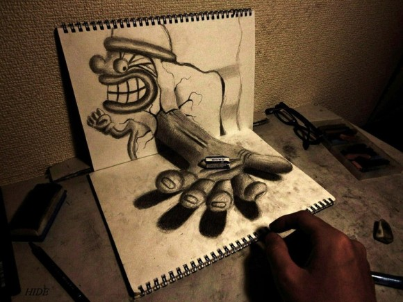 3D Drawing Holding an Eraser