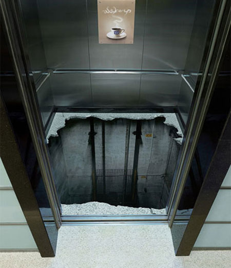 Elevator Death Trap Optical Illusion