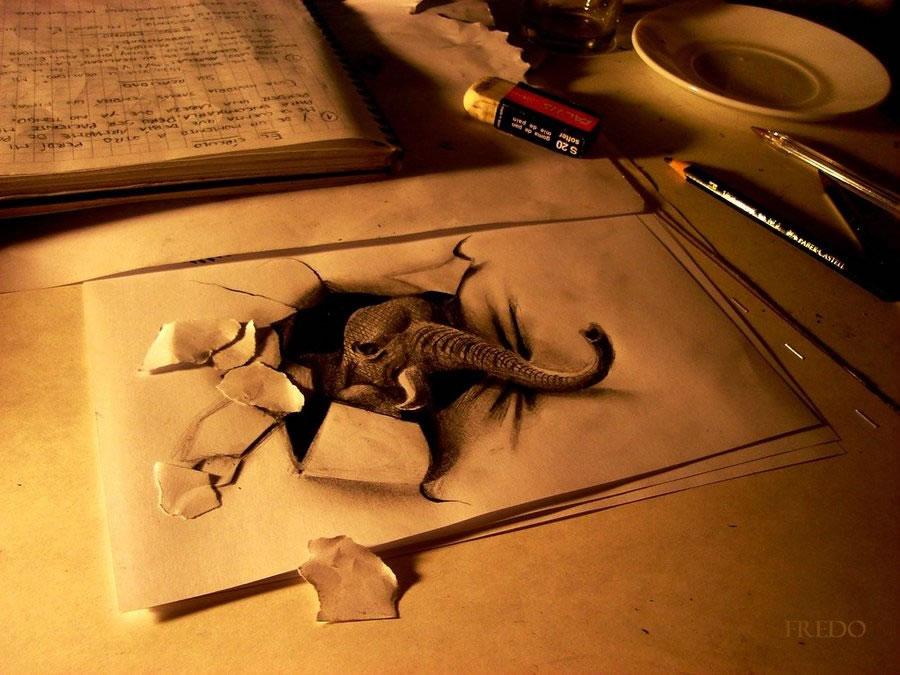 3D Elephant Drawing