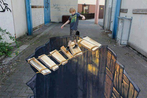 Rope Bridge 3D Chalk Drawing Optical Illusion