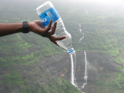 Waterfall Water Bottle Optical Illusion