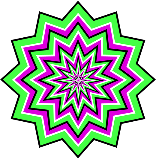 Green and Purple Pulsating Optical Illusion