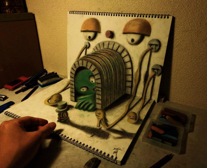 3D Tunnel Drawing Optical Illusion