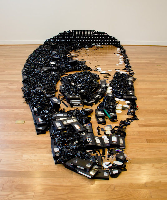 VHS Tape Skull Optical Illusion