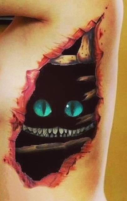 Cheshire Cat Tattoo Optical Illusion