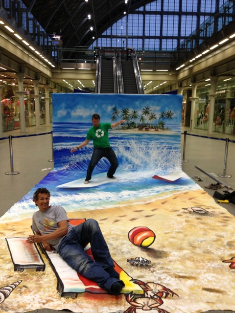 Surfs Up! 3D Chalk Drawing Optical Illusion