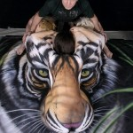 Tiger Body Art Optical Illusion