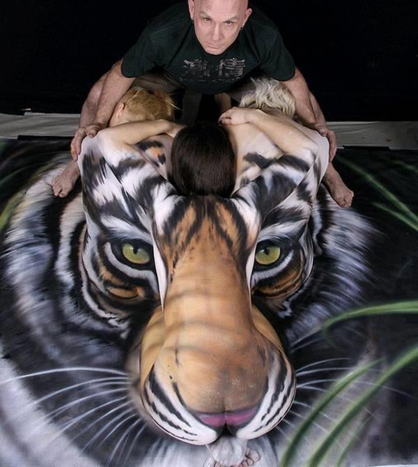 Tiger Body Art Optical Illusion