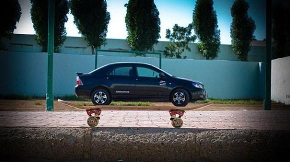 Car on a Skateboard Optical Illusion