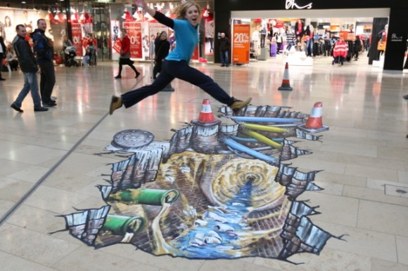 3D Mall Art Girl Jumping Optical Illusion