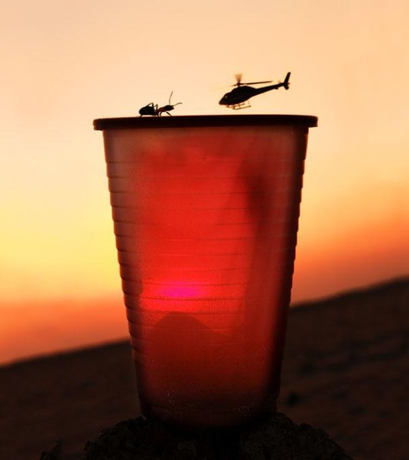 An Ant and Helicopter Do Battle in This Optical Illusion